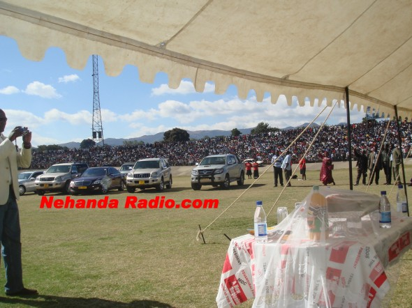 Posh cars at an MDC-T rally in Mutare in 2009