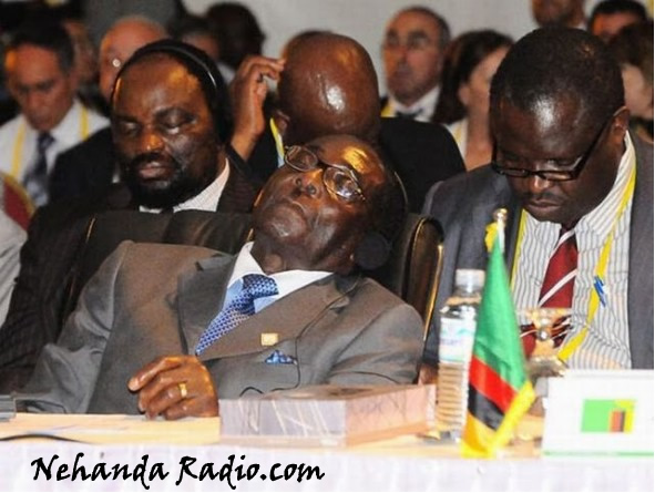 Mugabe, Commander in Chief of sleeping at conferences