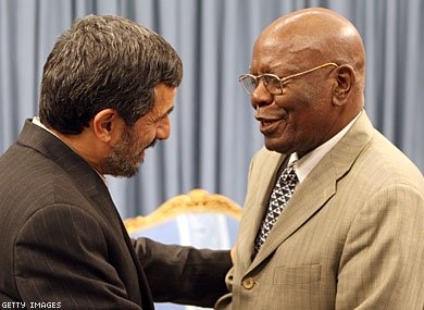 Didymus Mutasa (right) with the Iranian President