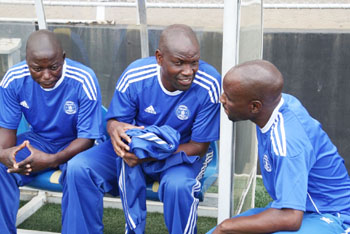 Dynamos coach Lloyd Mutasa (centre) and his assistants Masimba Dinyero and Ralph  Kawondera