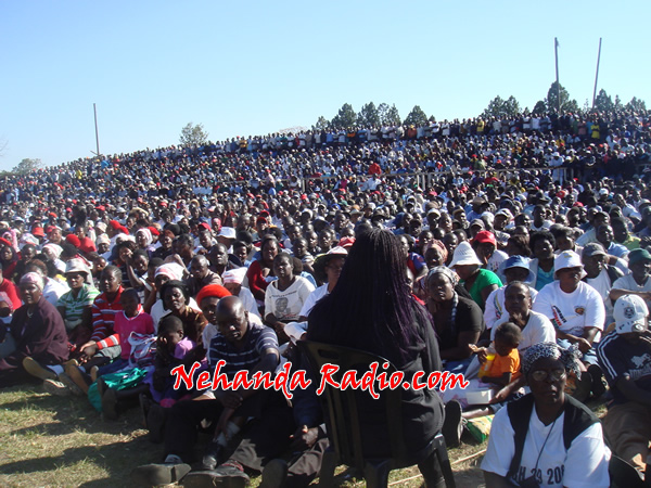 Over 15 000 MDC-T supporters packed Mkoba Stadium on Sunday