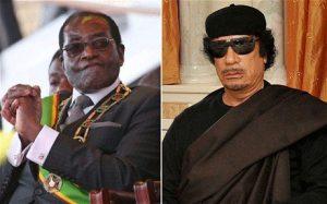 Zimbabwean dictator Robert Mugabe and his Libyan counterpart Colonel Muammar Gaddafi