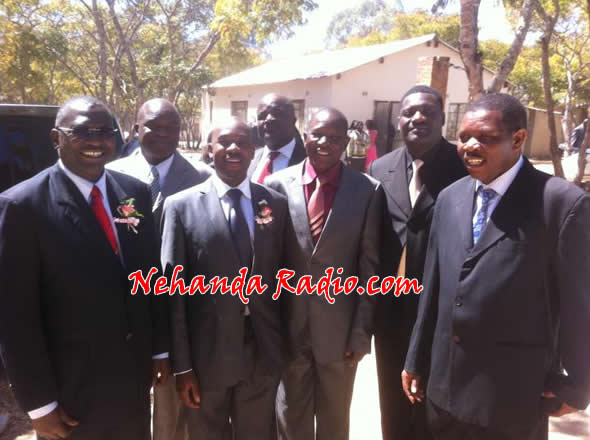In this exclusive picture ICT Minister Chamisa (second left) he can be seen posing with the AFM top leadership made up of (President) Reverend Aspher Madziyire, Vice President Pastor Titus Murefu and Pastor Nhamburo. The service was at Rufaro, Chartsworth in Mvuma.