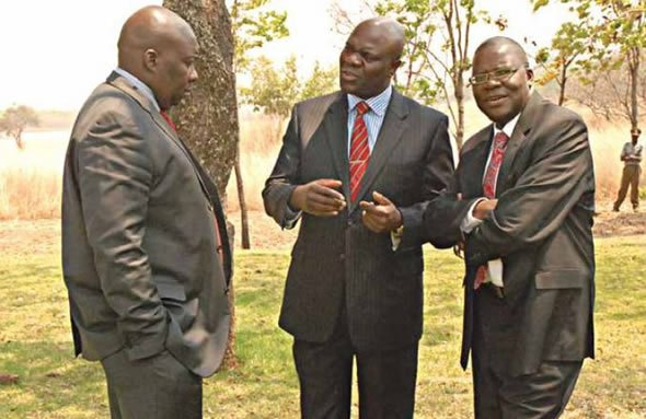 Youth and Empowerment Minister Saviour Kasukuwere, Deputy Prime Minister Arthur Mutambara and Finance Minister Tendai Biti