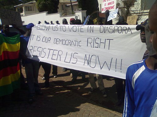 Zimbabwe Diaspora vote demonstration