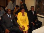 Co-Home Affairs Ministers Kembo Mohadi and Theresa Makone and Zimbabwean ambassador to South Africa, Bekezela Mpoko