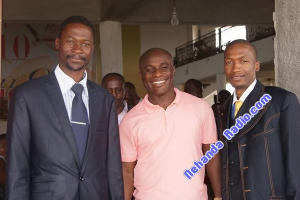 Prophets Makandiwa and Uebert Angel flanking their spiritual father, Prophet Victor Boteng