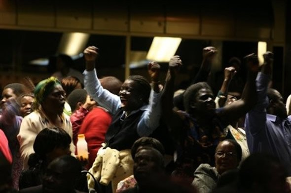 Zanu PF supporters and so-called war vets disrupt the first All-Stakeholders conference on the Constitution in Harare at the Rainbow Towers Hotel in Harare (July 2009)