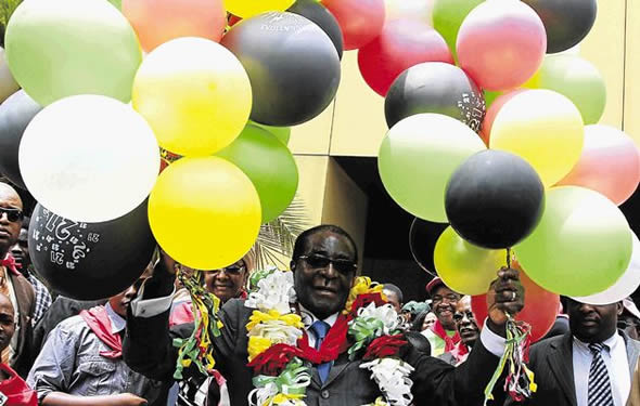 No balloon jokes, Mugabe at 88
