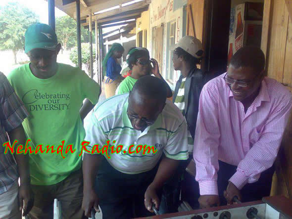 Professor Welshman Ncube, seen here playing mini soccer (slug) in Lupane