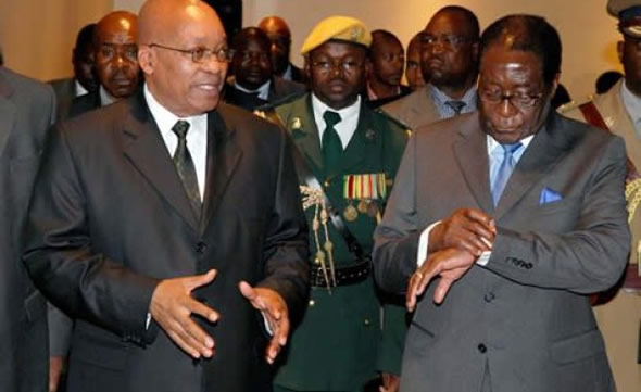 Time running out for Mugabe: The Zanu PF dictator seen here with South African President Jacob Zuma