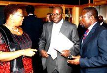 Finance Minister Tendai Biti (CENTRE) with DPM Thokozani Khupe (LEFT) and Energy Minister Elton Mangoma