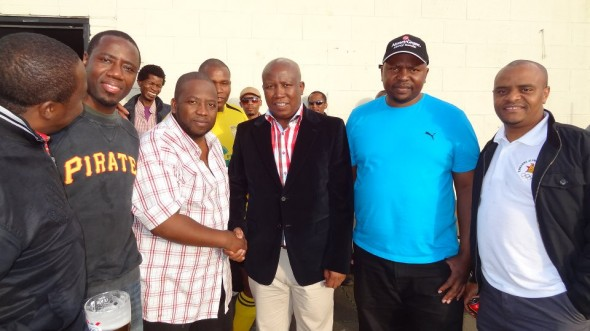 Julius Malema meets exiled Zimbabweans at the Rollers club in London