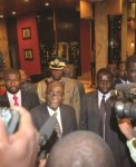 UNDER SPOTLIGHT... President Robert Mugabe speaks to journalists soon after holding talks with South Africa's President Jacob Zuma at a Harare hotel Wednesday night. (Pic: Tsvangirayi Mukwazhi.