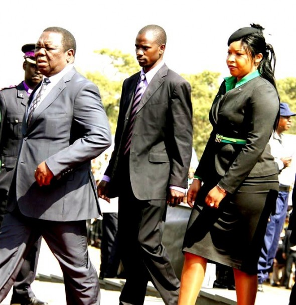 Tsvangirai (left) with his new wife to be Elizabeth Macheka (right)