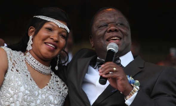 Morgan Tsvangirai and Elizabeth Macheka 'celebrate their already existing customary law union and affirm their commitment to each other'. Photograph: Aaron Ufumeli/EPA