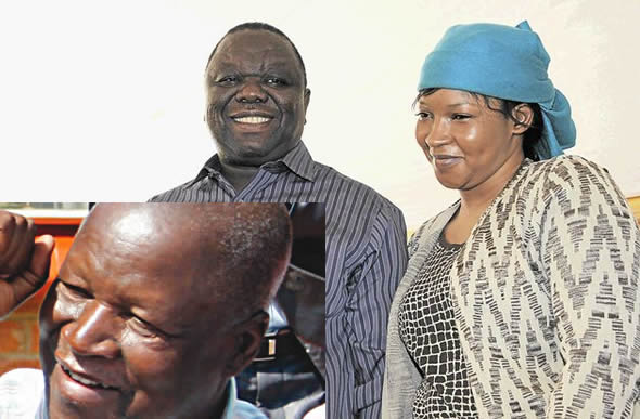 Joseph Macheka (left) attended Morgan and Elizabeth Tsvangirai's wedding