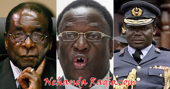 The key men behind the Gukurahundi Massacres: Robert Mugabe (President), Emmerson Mnangagwa (then State Security Minister) and Perrence Shiri (then commander of the 5th Brigade).
