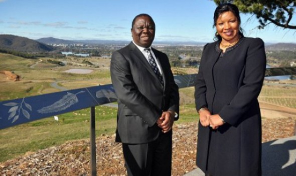 Prime Minister Morgan Tsvangirai with his wife Elizabeth Macheka