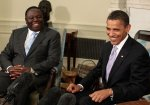 U.S. President Barack Obama (R) meets with Prime Minister Morgan Tsvangirai of Zimbabwe in the Oval Office at the White House June 12, 2009 in Washington, DC.