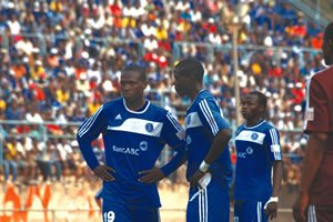 Double Trouble . . . DeMbare's young hitmen, Simba Sithole (left) and Farai Mupasiri were on target in the comprehensive win over Shabanie at Rufaro on Sunday