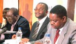 Copac co-chairpersons Munyaradzi Paul Mangwana, Mr Douglas Mwonzora and Edward Mkhosi alongside the committee's spokesperson Ms Jessie Majome at a Press conference at the Second All Stakeholders' Conference in Harare