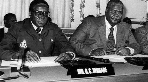 Robert Mugabe and bitter rival Joshua Nkomo