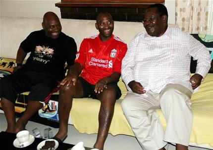 Ndlovu brothers Madinda and Peter seen here with Mines Minister Obert Mpofu