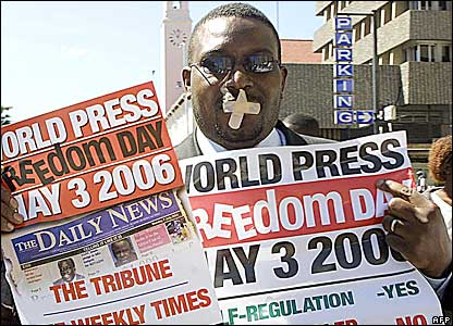 Zimbabwean journalist Foster Dongozi during a World Press Freedom Day march: (Photo by Cameroon Echoes)