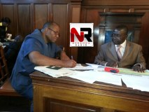 Mike Madiro filing his papers to stand as an independent