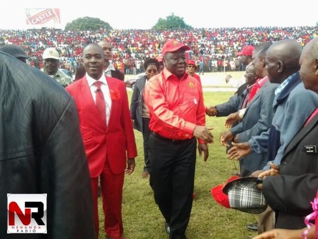 Tsvangirai in Sakubva Stadium