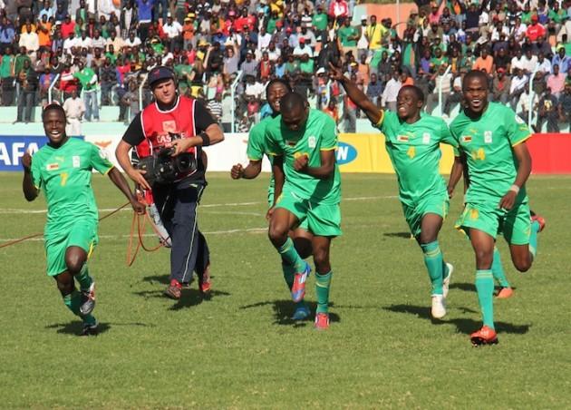 Zimbabwean players Ronaldo Chitiyo, Tendai Ndoro, Nicholas Guyo and Masimba Mambare celebrate