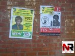 The Zanu PF candidate for Kuwadzana, Betty Kaseke and her campaign team can be seen deliberating defacing posters for the MDC-T candidate Lucia Matibenga and pasting her own ones on top.