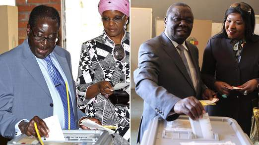 Robert Mugabe and Morgan Tsvangirai cast their votes
