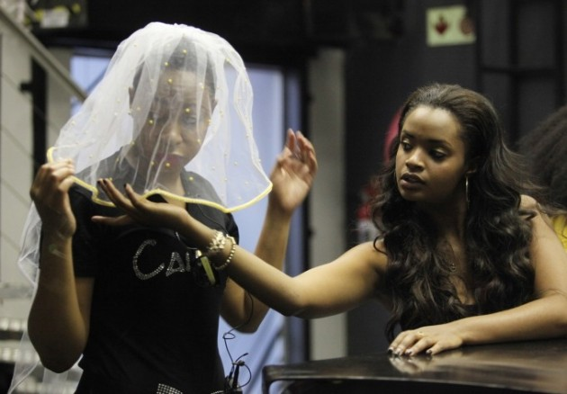 The veil is off. Pokello (left), pictured here with Namibian housemate Dillish, revelealed her true feelings to IK last night.