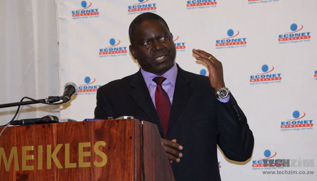 Econet Chief Executive, Douglas Mboweni, at the announcement of the 4G LTE services (Picture by Tech Zim)