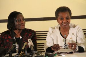 ZEC chairperson Justice Rita Makarau and her deputy Mrs Leticia Kazembe update the media