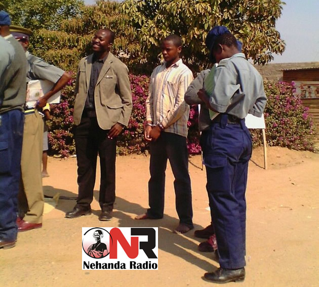 Zanu PF youth Coleen Makuyana (pictured with handcuffs) was arrested in connection with the alleged murder of Mhlanga (Picture by Nehanda Radio Citizen Reporter)