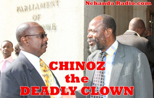 The Deadly Clown: Joseph Chinotimba (right) chats to Minister Sylvester Nguni (left)