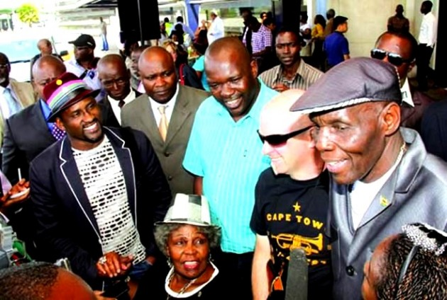 Oliver Mtukudzi with friends Ringo, Steve Dyer and Dorothy Masuka last year for his 60th Birthday Celebrations