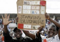 Mocking the Zimbabwe Dollar at the height of hyper-inflation several years ago