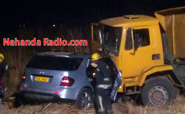 Truck smashes into Mercedes along Harare Drive