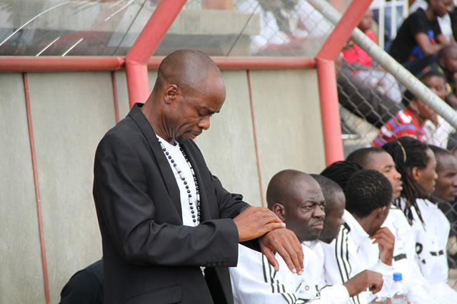 HIGHLANDERS coach Kelvin Kaindu checks his watch during Sunday's match against Dynamos. Some of his players went on a drinking spree soon after the match