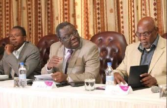 Simba Makoni, Morgan Tsvangirai and Dumiso Dabengwa at a press conference last year