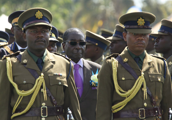 Mugabe inspecting police guard
