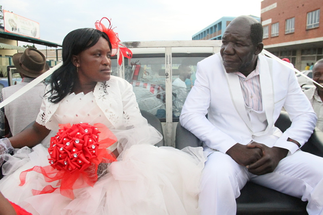 "The reigning ""Mr Ugly"" William Masvinu and his wife Alice Chabhanga were paraded in the streets in a mock wedding."
