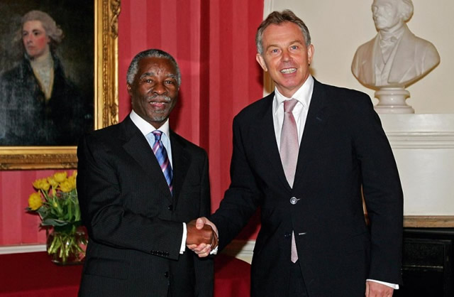 Thabo Mbeki and Tony Blair at Downing Street