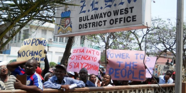 A demonstration against Zesa in Bulawayo last year