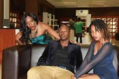 Stunner flanked by singers Cindy Munyavi (left) and Clare Nyakujara