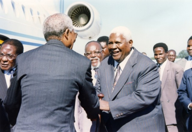 Nelson Mandela with Joshua Nkomo